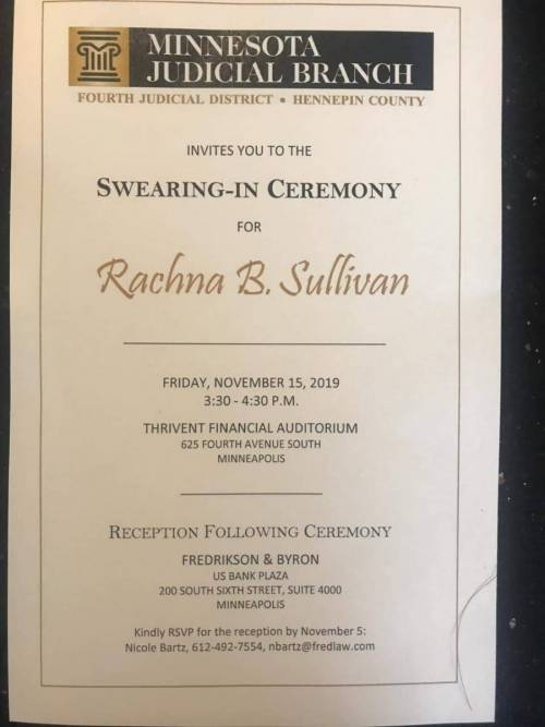 Judge Rachna B Sullivan Makes us Proud